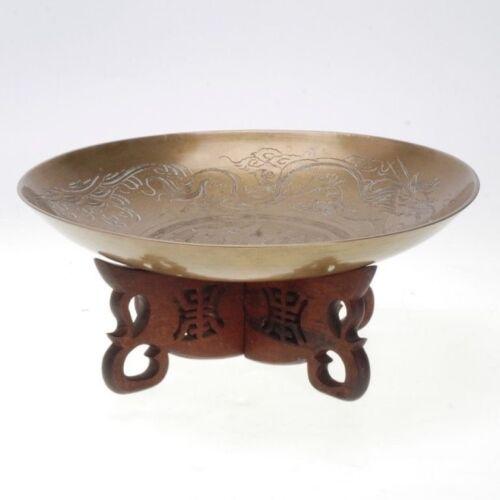 VINTAGE ENGRAVED CHINESE BRASS BOWL W/ A CARVED WOOD STAND