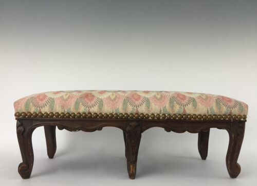 French Louis XV Carved Long Foot Stool or Rest - 6 Cabriole Legs