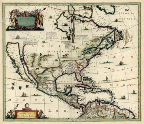 1652 North America New World Historic Vintage Style Wall Map - 16x20