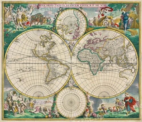 Classic Old World 1670 Vintage Style Illustrated Map - 24x28