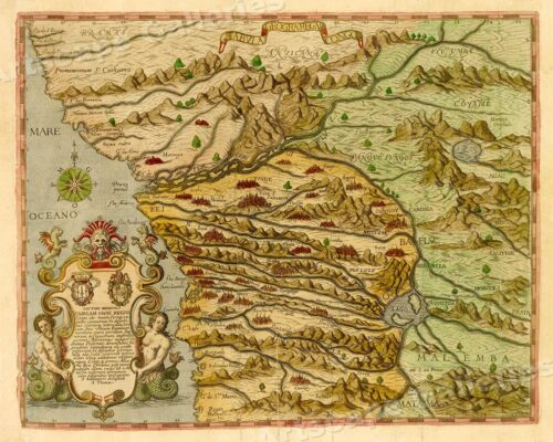 Early Map of the Congo 1597 Vintage Style Unusual Africa Map - 16x20