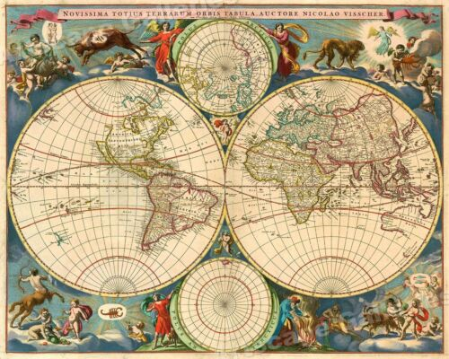 1695 Colored Old and New World Historic Vintage Style Wall Map - 20x24