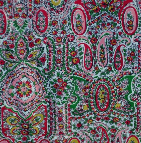 "ANTIQUE 1940-50s PINK PAISLEY EARLY COTTON FABRIC  - BEAUTIFUL - 34 ¾"" WIDE"