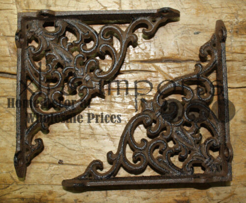 6 Cast Iron Antique Victorian Style Brackets, Garden Braces Shelf Bracket