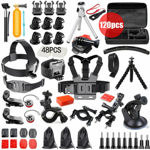 120pcs GoPro Hero 7 6 5 4 3+ 2 Accessories Pack Case Chest Head Floating Monopod