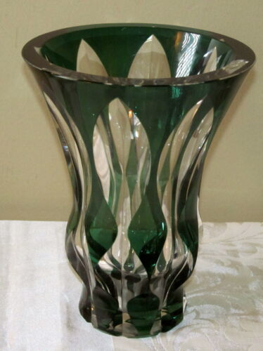 Crystal Art Glass Vase Cut to Clear Art Deco Signed