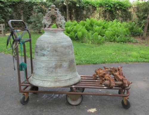 Huge Antique Bronze Oriental Asian Bell