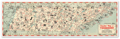 """Large State of Tennessee """"Chuckle"""" USA MAP Print Poster circa 1940 - 24"""" x 80"""""""