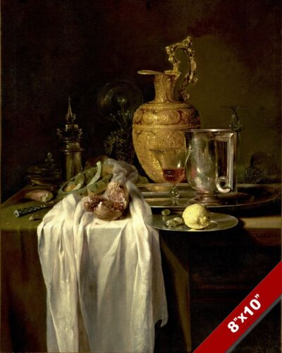 BEAUTIFUL STILL LIFE PAINTING FOOD & GOLD PITCHER PAINTING ART REAL CANVAS PRINT