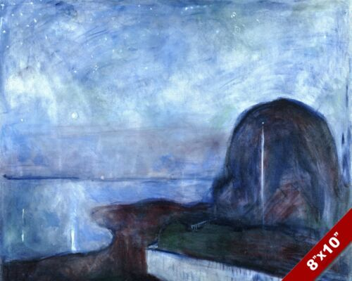 STARRY NIGHT AT SEA SCENIC SEASCAPE ART EDVARD MUNCH PAINTING REAL CANVAS PRINT
