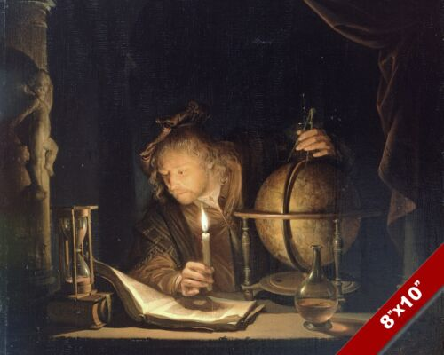 THE ASTRONOMER BY CANDLELIGHT STAR ART DAILY LIFE PAINTING REAL CANVAS PRINT