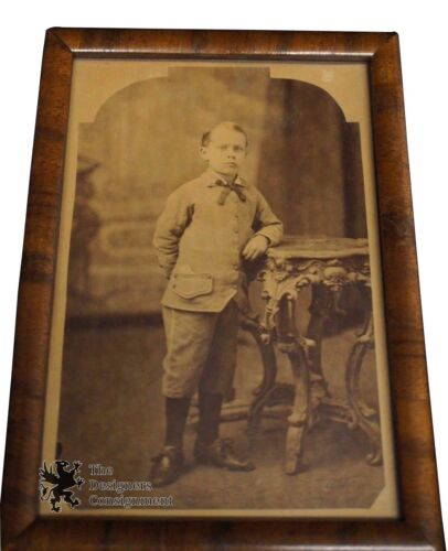 Antique Victorian Portrait of 8 Year Old Formal Dressed Boy Eastlake Table Frame
