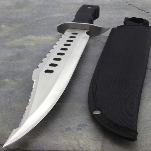 """17"""" LARGE SURVIVAL BOWIE HUNTING KNIFE w/ SHEATH Military Fixed Blade Combat"""