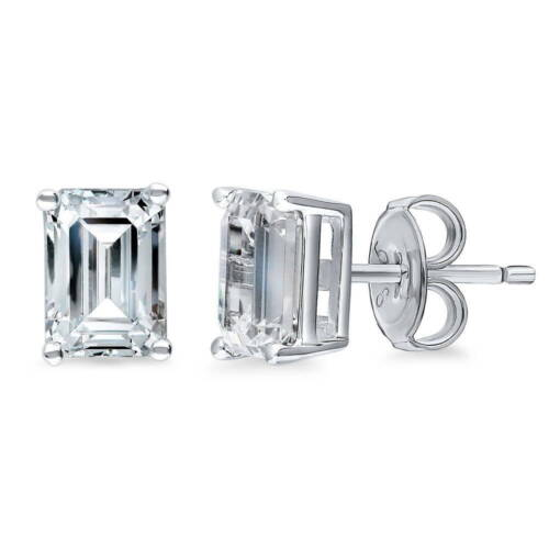 Silver Solitaire Stud Earrings Made with Swarovski Zirconia Emerald 2 CT