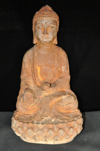 Antique Chinese Iron Buddha Statue 18C