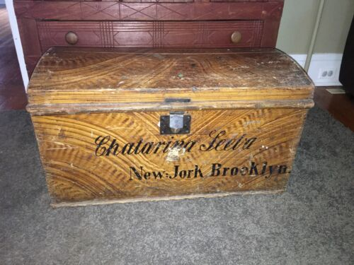 Antique Wood Grain Painted Immigrant Trunk Brooklyn New York Chest