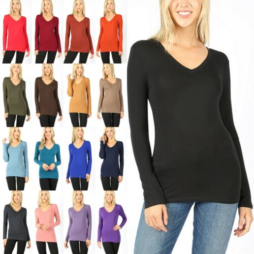 Women's V Neck Long Sleeve Cotton T-Shirt Soft Stretchy Top Basic Tee 3058 8003