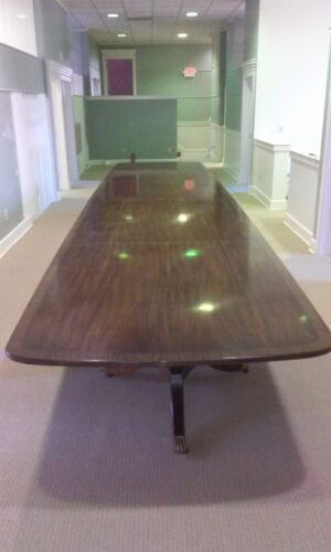 22 FEET!!! LENGTH- KITTINGER Banded Mahogany Dining Table