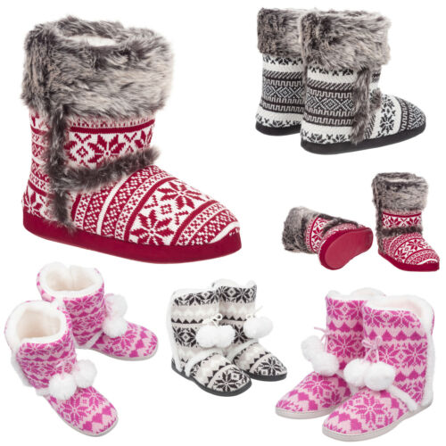 Ladies & Girls Knitted Bootie Slippers Size 3 to 8 UK - FUR LINED SLIP ON BOOTS <br/> MACHINE WASHABLE FAUX FUR LINED SLIPPERS