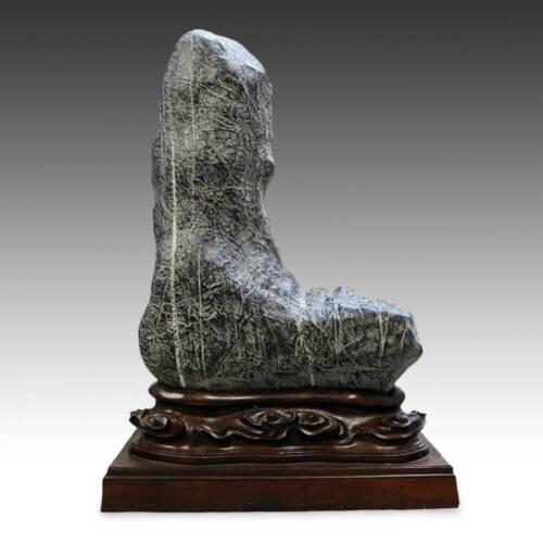 ANTIQUE CHINESE LINGBI STONE GONGSHI SCHOLAR'S ROCK WITH CARVED WOOD BASE CHINA