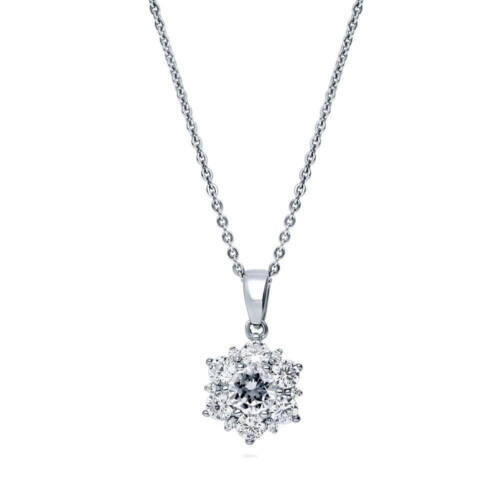 BERRICLE Sterling Silver CZ Flower Pendant Necklace