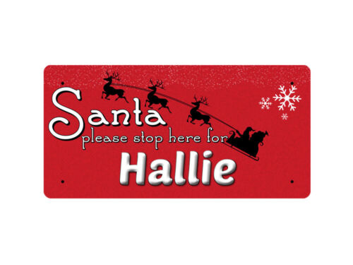 WP/_XMAS/_1846 Santa please stop here for Hallie Metal Wall Plate