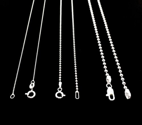 NEW SOLID 925 STERLING SILVER BEAD BALL CHAIN DOG TAG NECKLACE FOR MEN'S/WOMEN'S