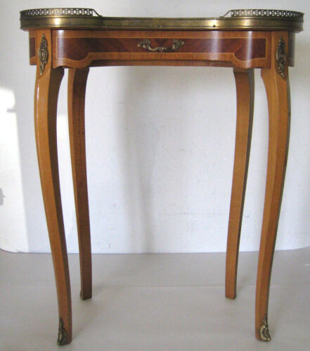 Antique End / Side / Tea Table Wood Brass Inlay Marble / Stone Top Made in Spain