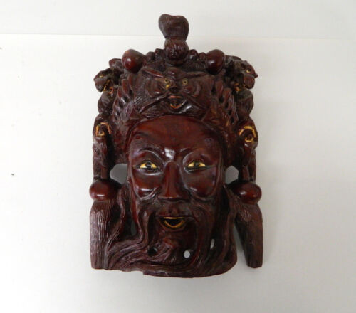 "10.5"" Vintage Asian Chinese Emperor & Dragons Hand Carved Wood Mask Rosewood #2"