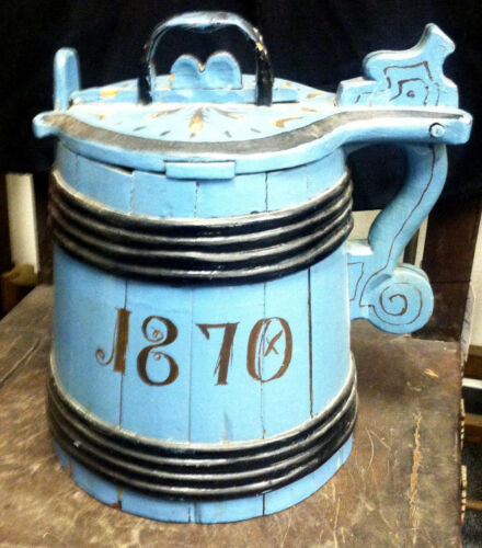 Antique Large Wooden Blue Swedish Tankard Dated c1870
