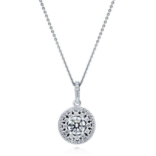 BERRICLE Sterling Silver Round Cut CZ Halo Flower Pendant Necklace