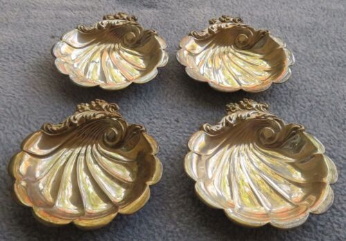 FOUR Lunt Sterling Silver Shell Shaped Ornate Nut Cups No Monograms