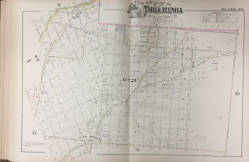 ORIG 1888 PHILADELPHIA FIVE POINTS AND CRESCENTVILLE PENNSYLANIA PLAT ATLAS MAP