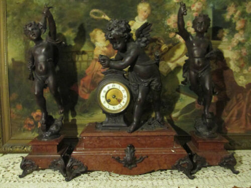 French Louis XIV Figural Putti Bronze finish metal/Marble Mantel Clock 3pc