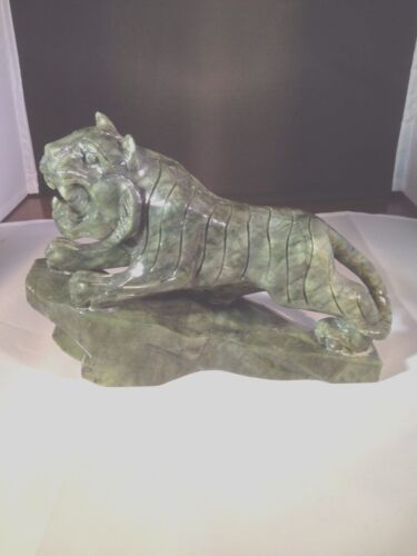 Asian Hand Carved Stone Tiger Excellent Beautiful Dark Green Excellent Condition