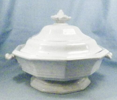 Antique Ironstone Tureen Covered Dish Flower Finial J Meir & Son White A Beauty
