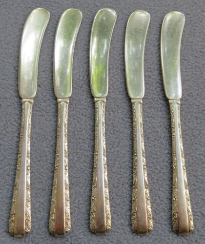 Set of FIVE Towle Sterling Silver Candlelight Butter Spreaders  134 grams