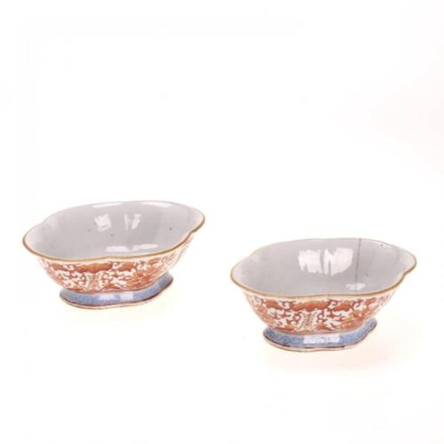 19TH C. PAIR ANTIQUE CHINESE ORANGE BAT AND LOTUS COUPES, QIANLONG MARK