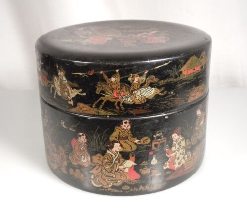 Japanese Black Lacquer Papier Mache Round Box