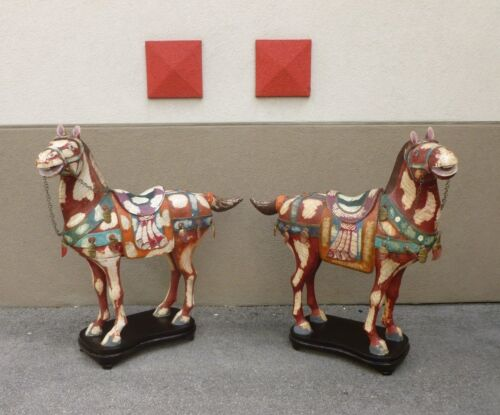 PAIR HUGE CHARMING PAINTED TESSELLATED BONE CHINESE TANG HORSES RESTORED