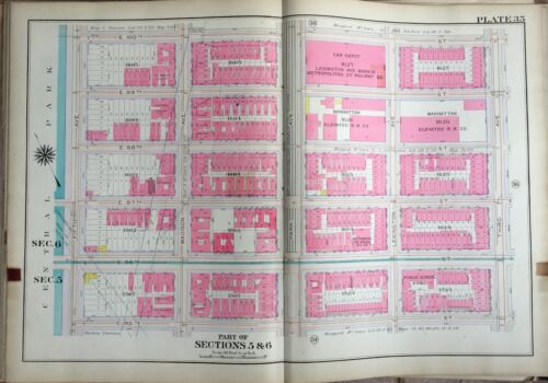 1909 PS 86, MANHATTAN ELEVATED RAILROAD CO, UPPER EAST SIDE, NY PLAT ATLAS MAP