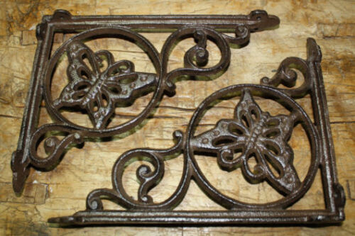 2 Cast Iron Antique Style BUTTERFLY Brackets, Garden Braces Shelf Bracket HEAVY