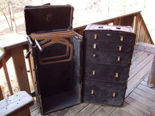FITZGERALD & CROUCH Steamer Upright Wardrobe Travel Trunk Luggage Chest Suitcase