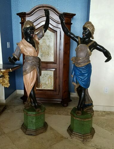 PAIR LIFESIZE HAND CARVED POLYCHROME WOOD ITALIAN VENETIAN BLACKAMOORS