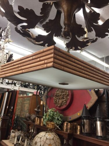 Mid Century Bamboo And Glass Ceiling Fixture