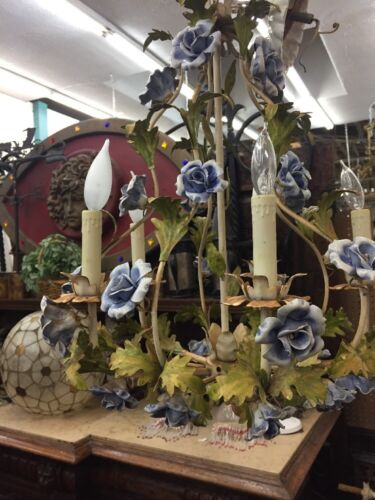 Hanging Metal Chandelier With Blue Porcelain Flowers Tole Style