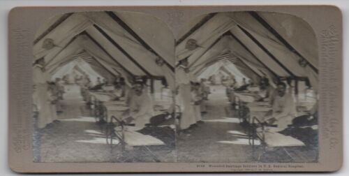 1898 Stereo Card of Wounded Soldiers US General Hospital Spanish American War