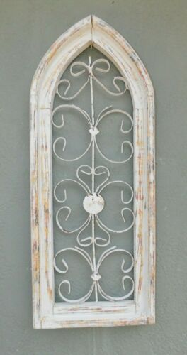 Wooden Antique Style Church WINDOW Wrought Iron Primitive Wood Gothic 29 1/2 IN