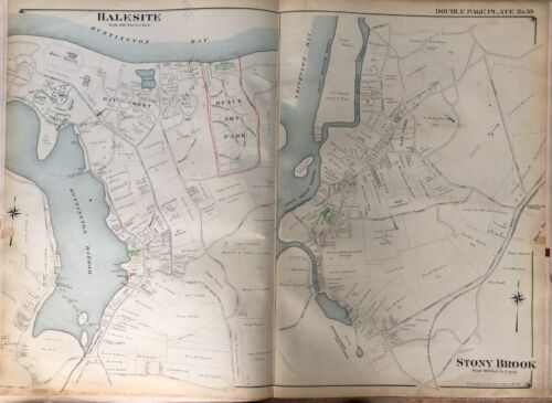 1909 HALESITE STONY BROOK BAY CREST OAK & BAUX ART PARK LONG ISLAND NY ATLAS MAP