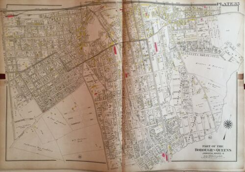 1909 G.W. BROMLEY JAMAICA QUEENS LONG ISLAND RAIL ROAD STATION NY COPY ATLAS MAP